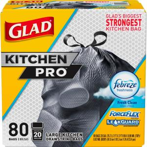 Glad 20 Gal. ForceFlex Kitchen Pro Drawstring Fresh Clean Odor Shield Trash Bags-1258778918 - The Home Depot