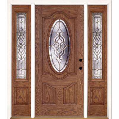 63.5 in.x81.625 in. Lakewood Brass 3/4 Oval Lt Stained Medium Oak Right-Hand Fiberglass Prehung Front Door w/ Sidelites
