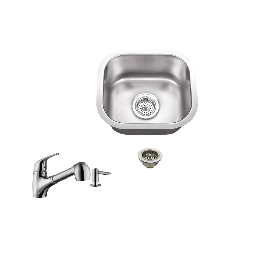 Undermount 15 in. 18-Gauge Stainless Steel Bar Sink in Br...
