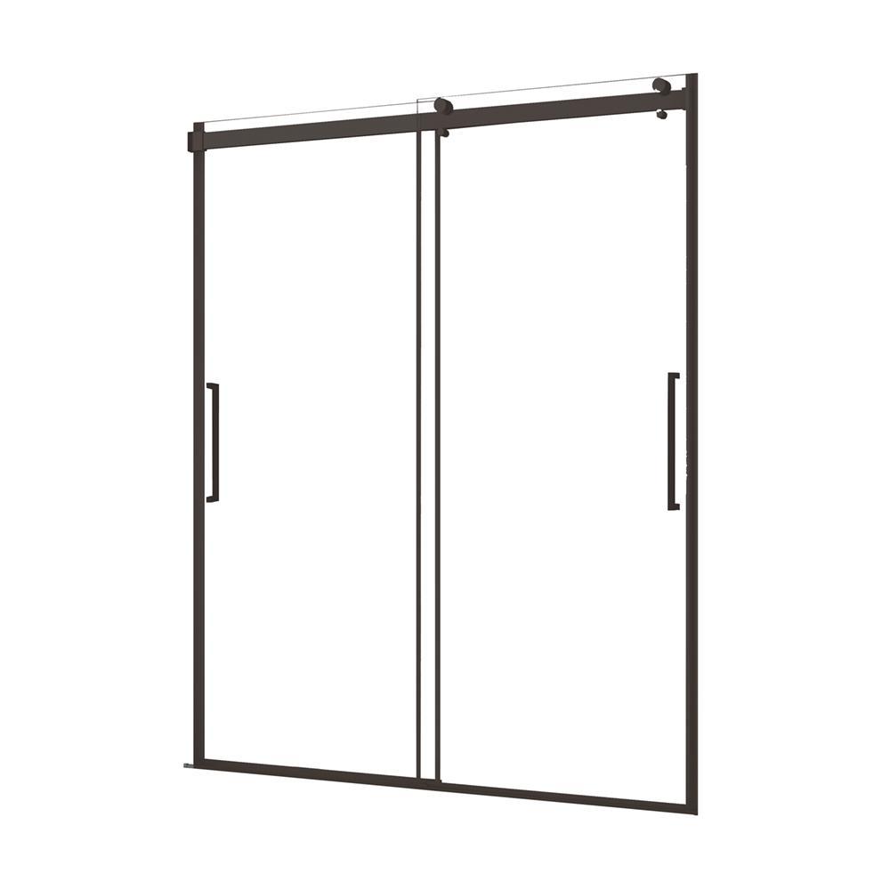 Lagoon 60 in. W x 76 in. H Semi-Frameless Sliding Shower Door in Matte Black with Vertical Handles