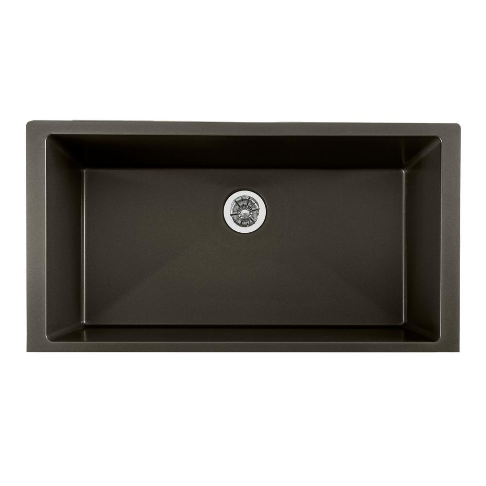 Quartz Luxe Perfect Drain Undermount Composite 36 in. Single Bowl Kitchen