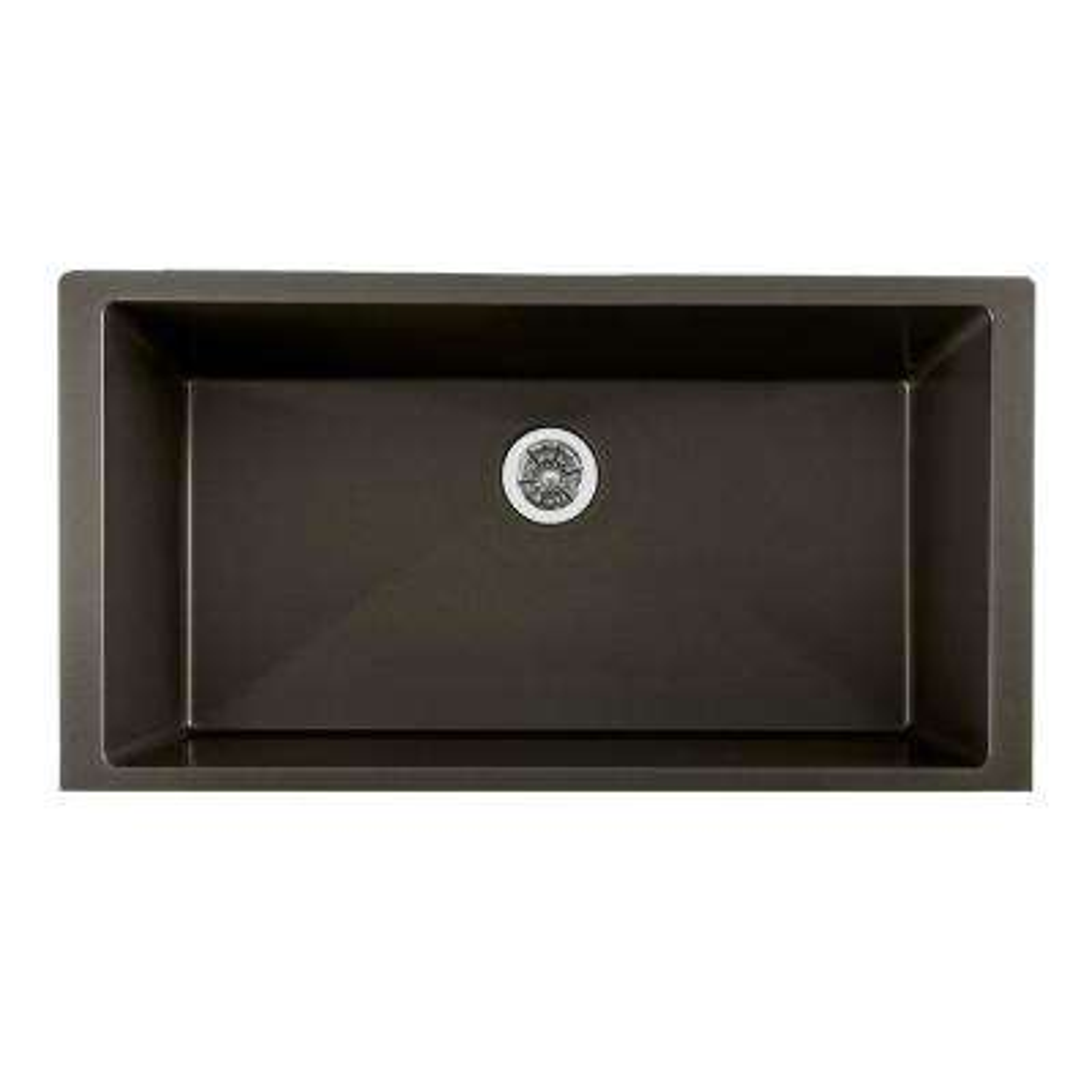 Quartz Luxe Perfect Drain Undermount Composite 36 in. Single Bowl Kitchen Sink in Caviar