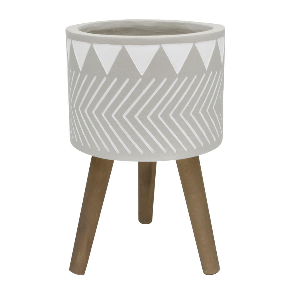 Mid-Century 12 in. Fiberglass Pot with Wood Stand Planter