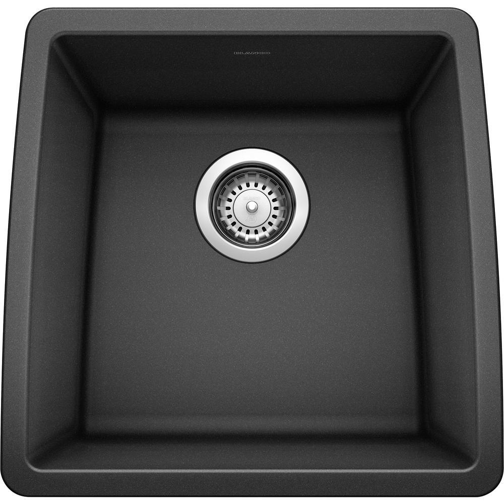 PERFORMA Undermount Granite Composite 17.5 in. Single Bowl Bar Sink in Anthracite