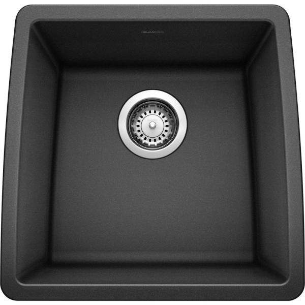 PERFORMA Undermount Granite Composite 17.5 in. Single Bowl Bar Sink in Anthracite