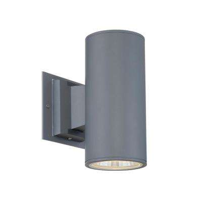 1-Light Grey Integrated LED Outdoor Wall Mount Cylinder Light