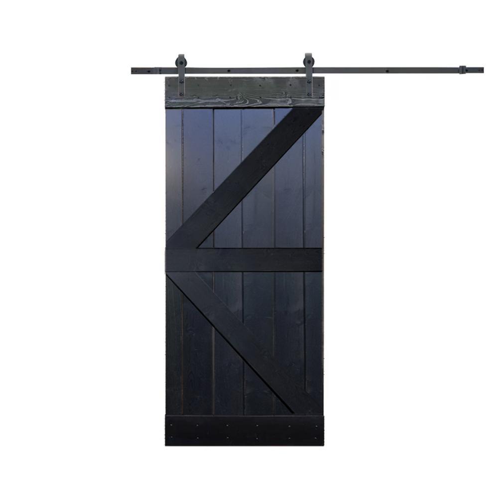 K Style Knotty Pine Wood Diy Barn Door With Sliding Hardware Kit