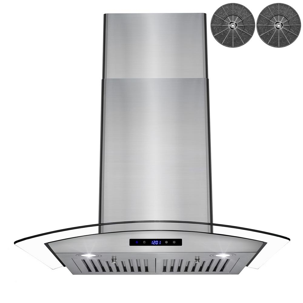 AKDY 30 in. Convertible Wall Mount Range Hood in Stainless Steel with Tempered Glass, Touch Control and Carbon Filters