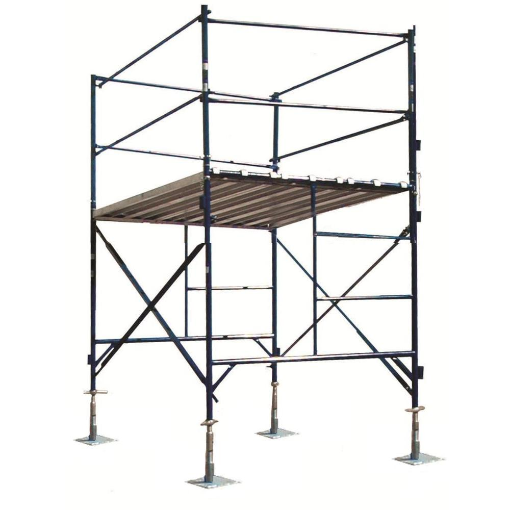 PRO-SERIES 6 ft. x 7 ft. x 5 ft. 1-Story Commercial Grade Scaffold Tower 2,000 lb. Load Capacity with Guardrail and Base Plates