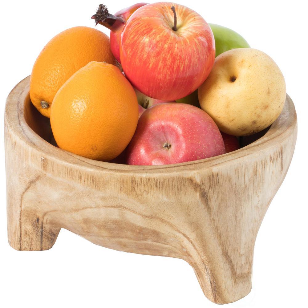 Burned Wood Carved Small Serving Fruit Bowl Bread Basket