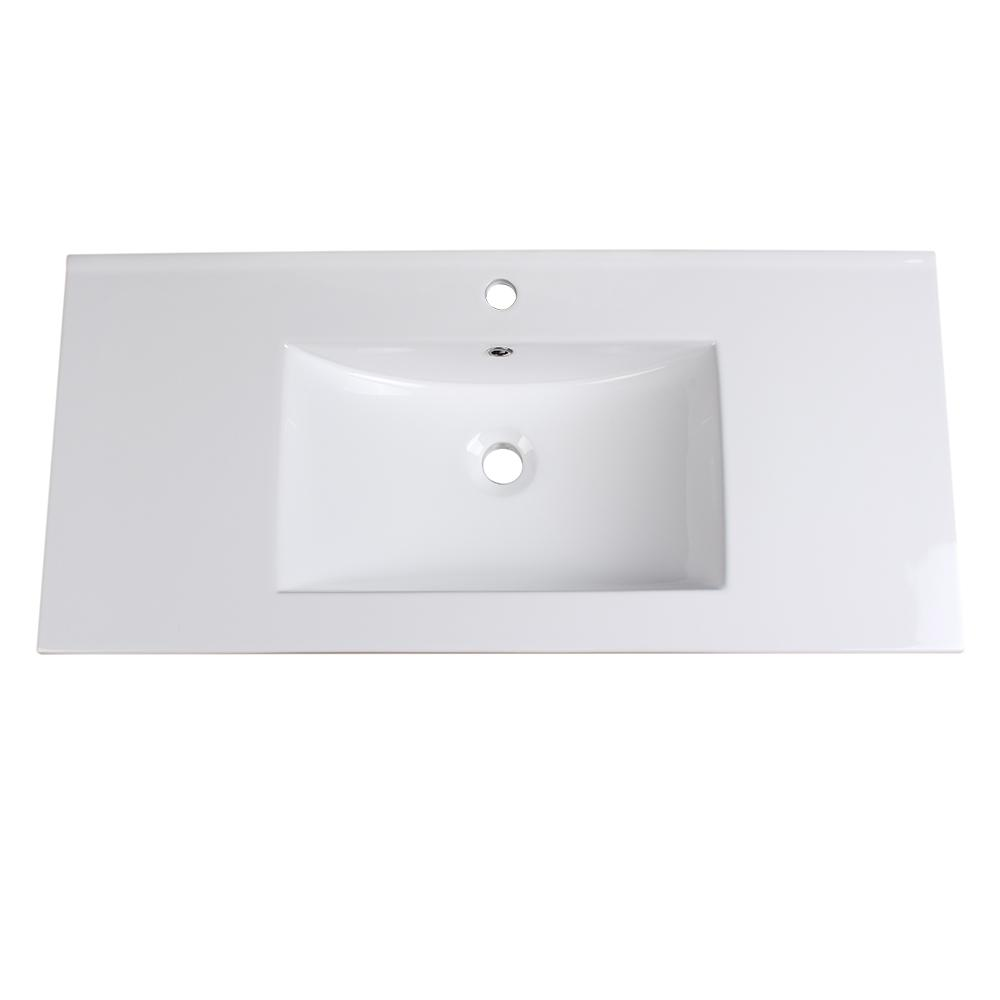 Allier 40 in. Drop-In Ceramic Bathroom Sink in White with Integrated