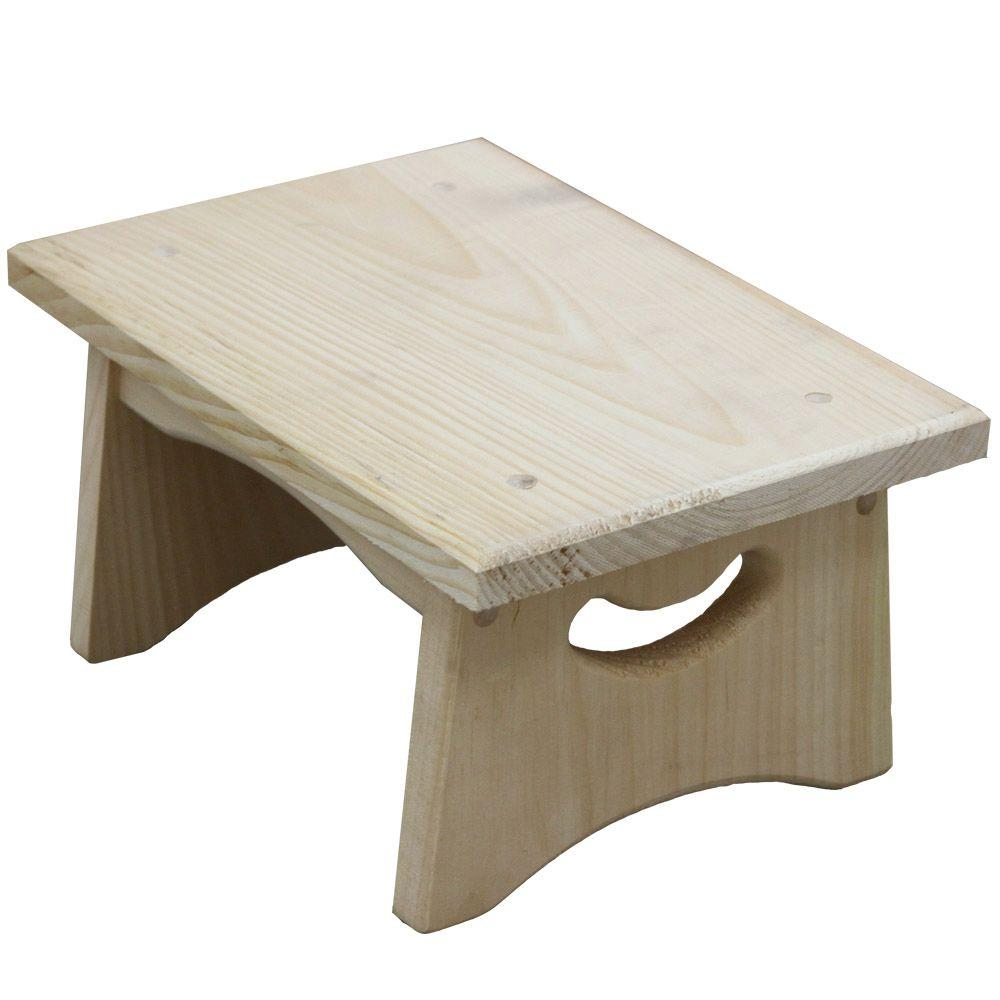 Crates & Pallet 13 in. x 9 in. x 6.75 in. Unfinished Wood Pine Handle Stepping Stool