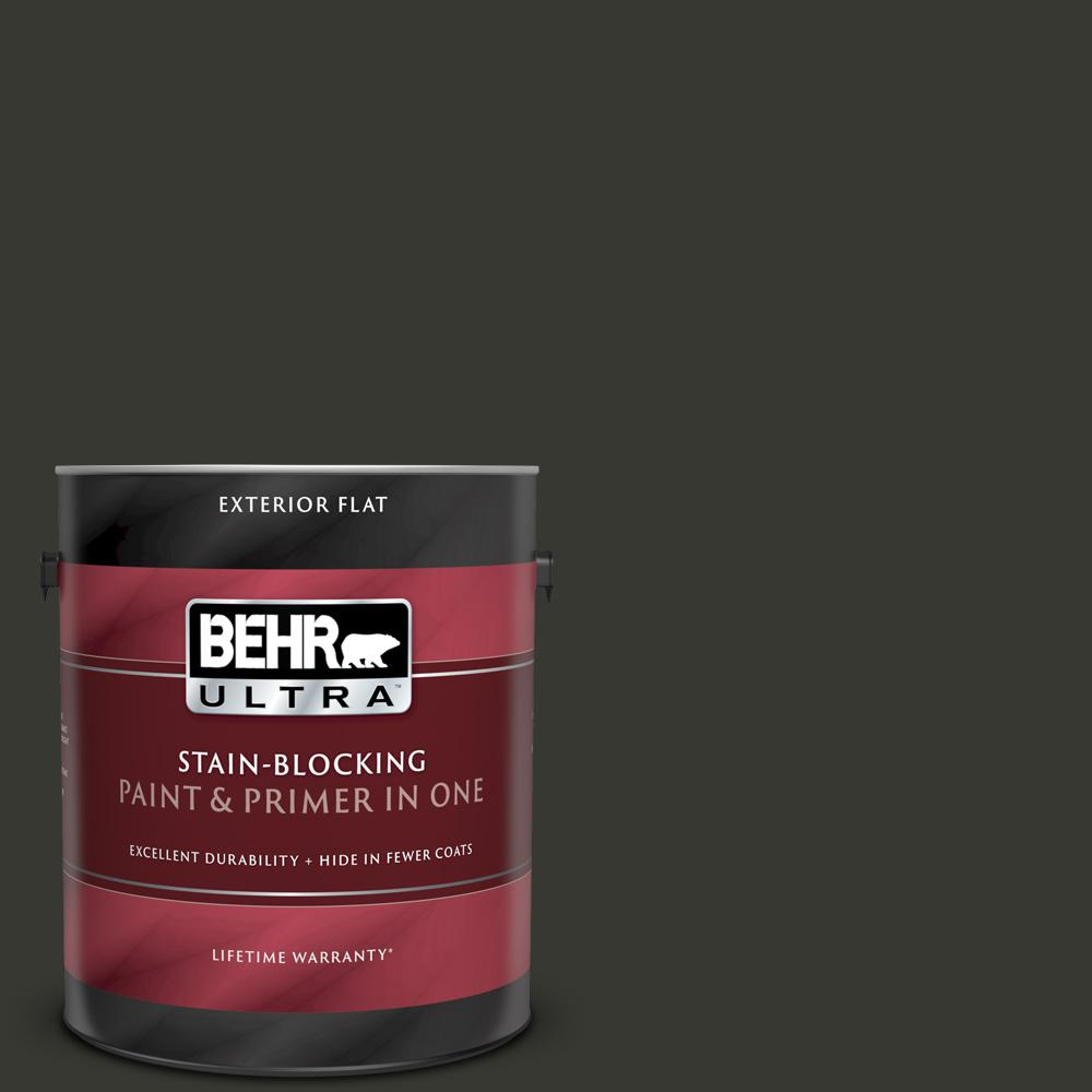 Behr Ultra 1 Gal N520 7 Carbon Flat Exterior Paint And Primer In One