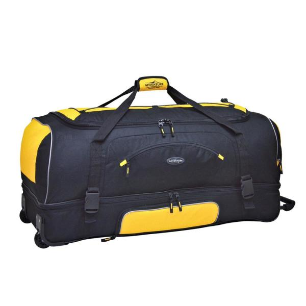 Travelers Club 30 in. 2-Section Black/Yellow Drop-Bottom Rolling Duffel with