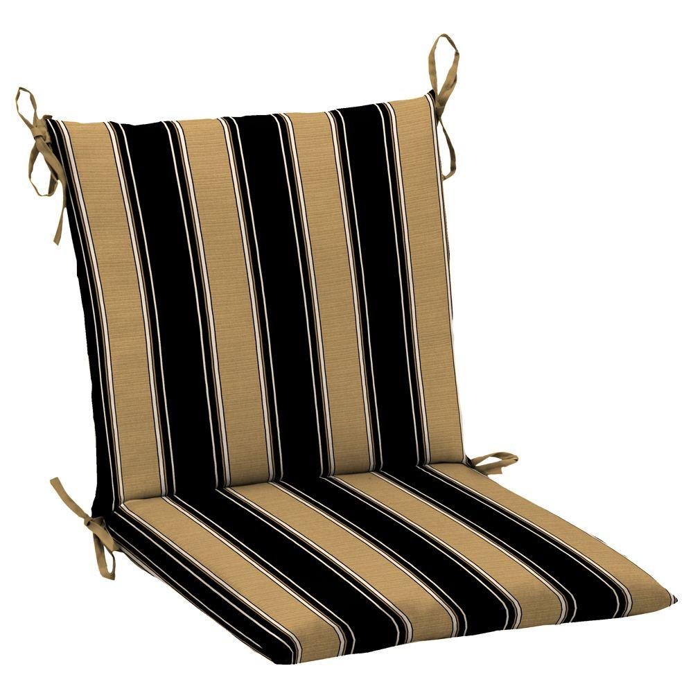 Hampton Bay Twilight Stripe with Roux Mid Back Outdoor Chair Cushion