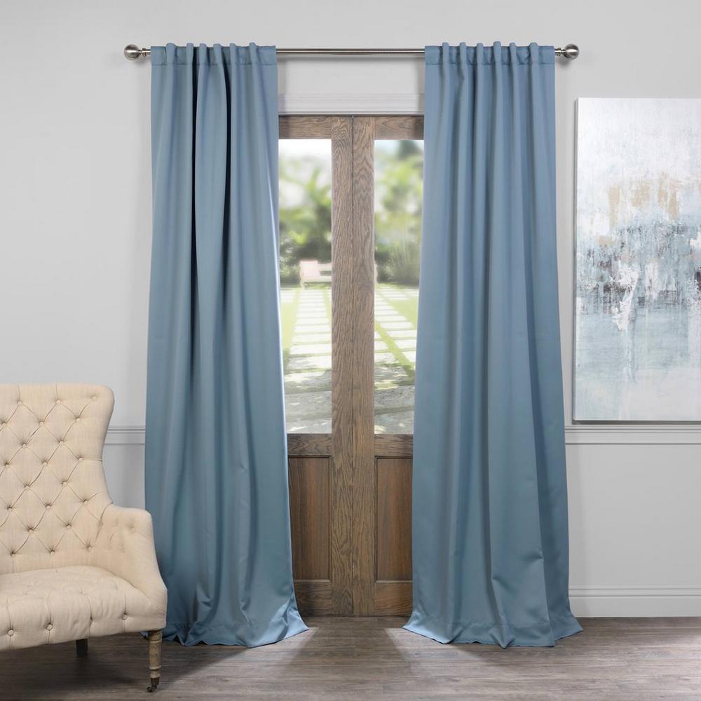 Semi-Opaque Poseidon Blue Blackout Curtain - 50 in. W x 84 in. L (Pair)