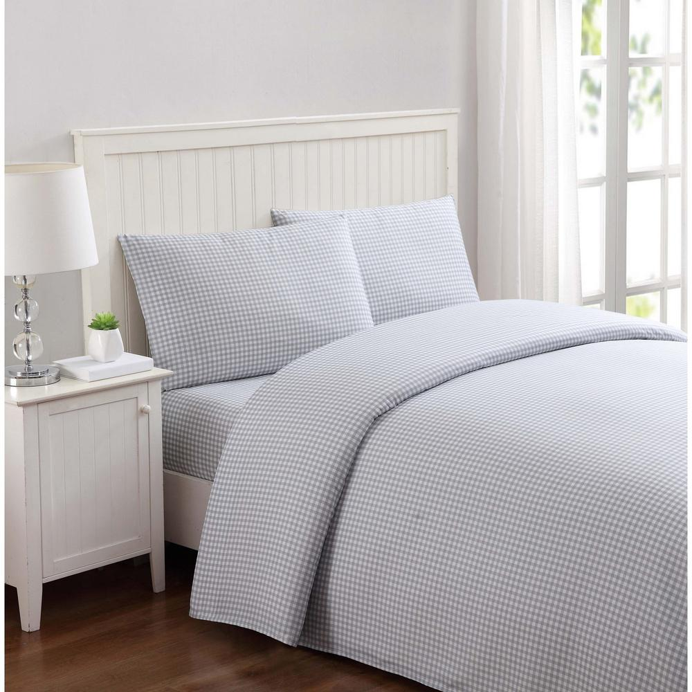 Anytime Gingham Gray Twin Sheet Set