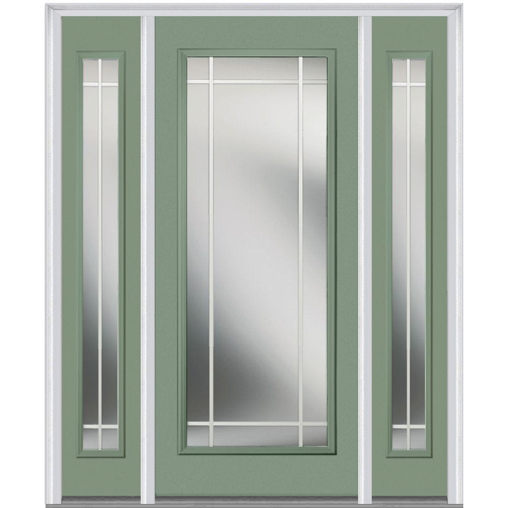 Mmi door 60 in x 80 in prairie internal muntins right hand full lite classic painted steel - Painting a steel exterior door model ...