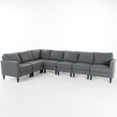 7-Piece Dark Gray Tufted Polyester 6-Seater L-Shaped Sectional Sofa with Wood Legs