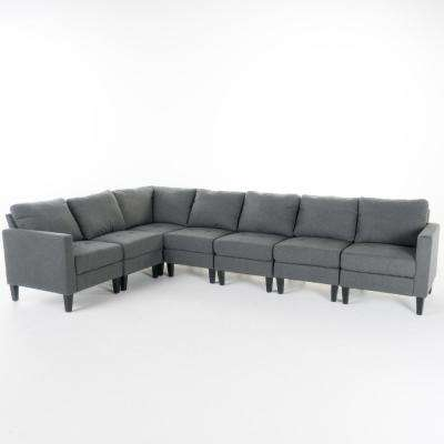 7-Piece Dark Gray Tufted Seat Fabric Sectional
