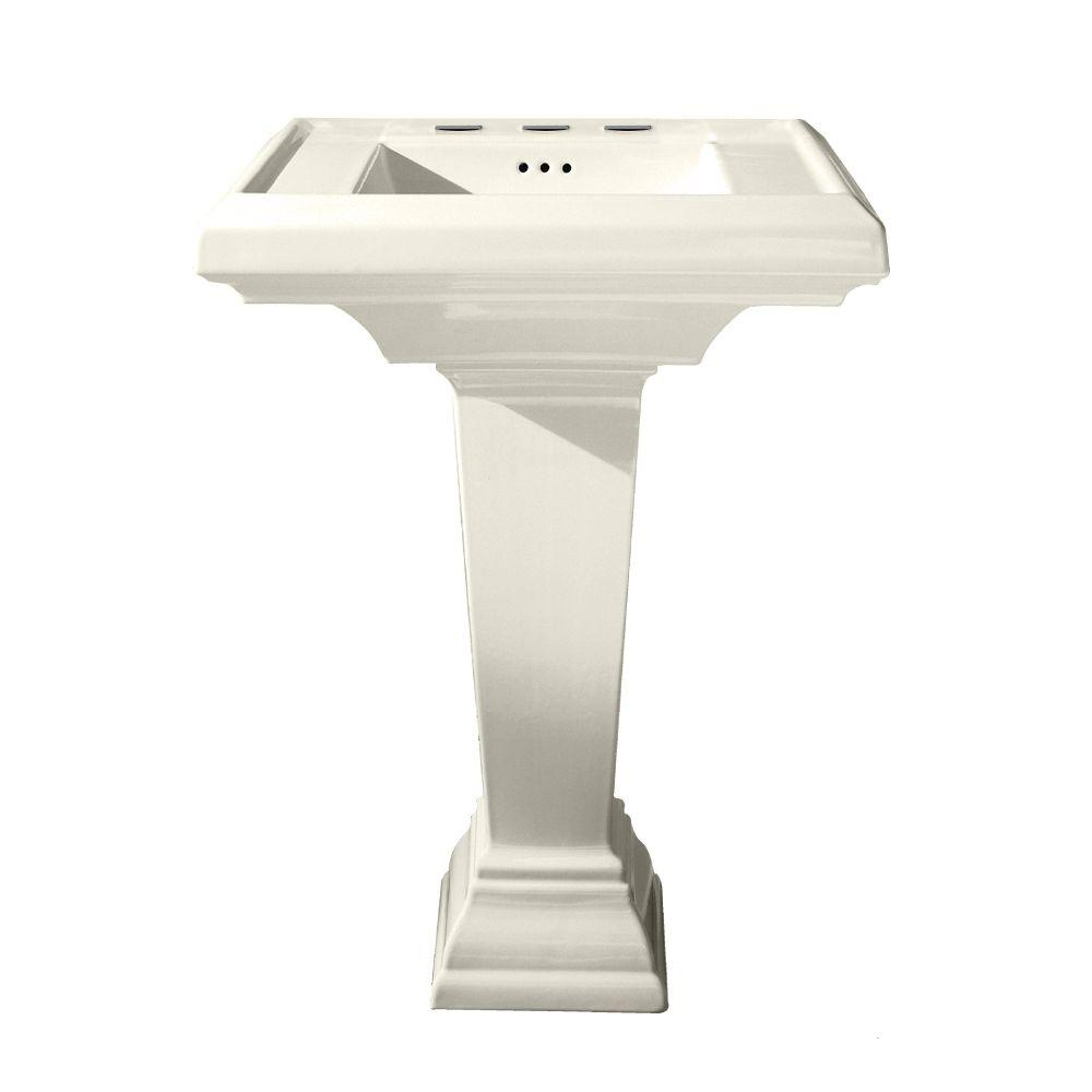 Town Square 27 in. Pedestal Combo Bathroom Sink in Linen