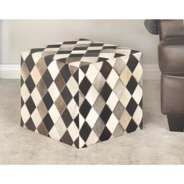 16 In X 16 In Leather And Wood Square Stool With Black Gray And White Checkered Patterns