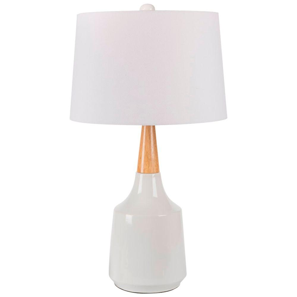 Titan lighting woven 26 in white and wood tone ceramic table lamp white indoor table lamp aloadofball Choice Image