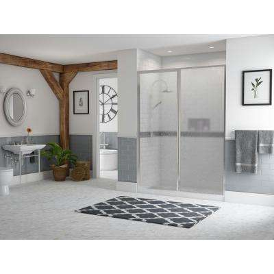Legend 38.5 in. to 40 in. x 69 in. Framed Hinge Swing Shower Door with Inline Panel in Chrome with Obscure Glass