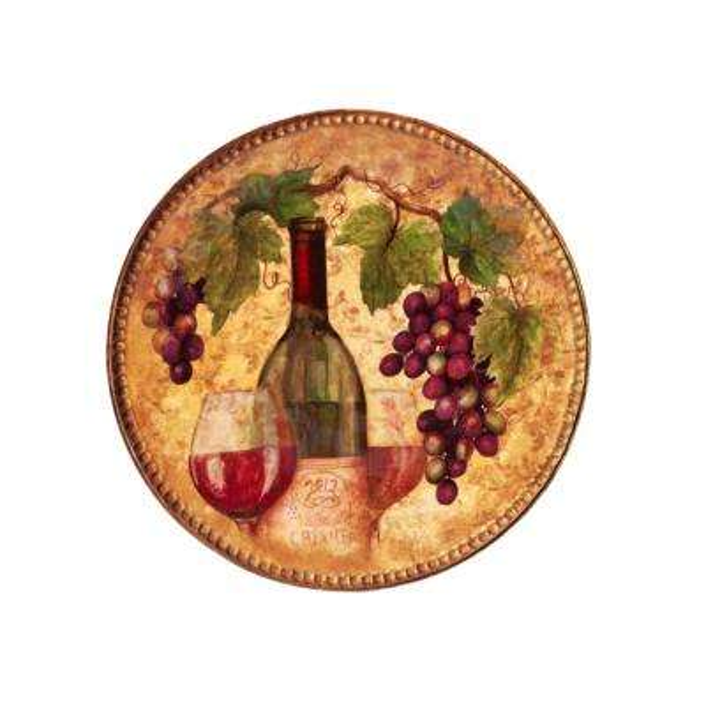 Gilded Wine 15.25 in. Multi-Colored Ceramic Round Platter