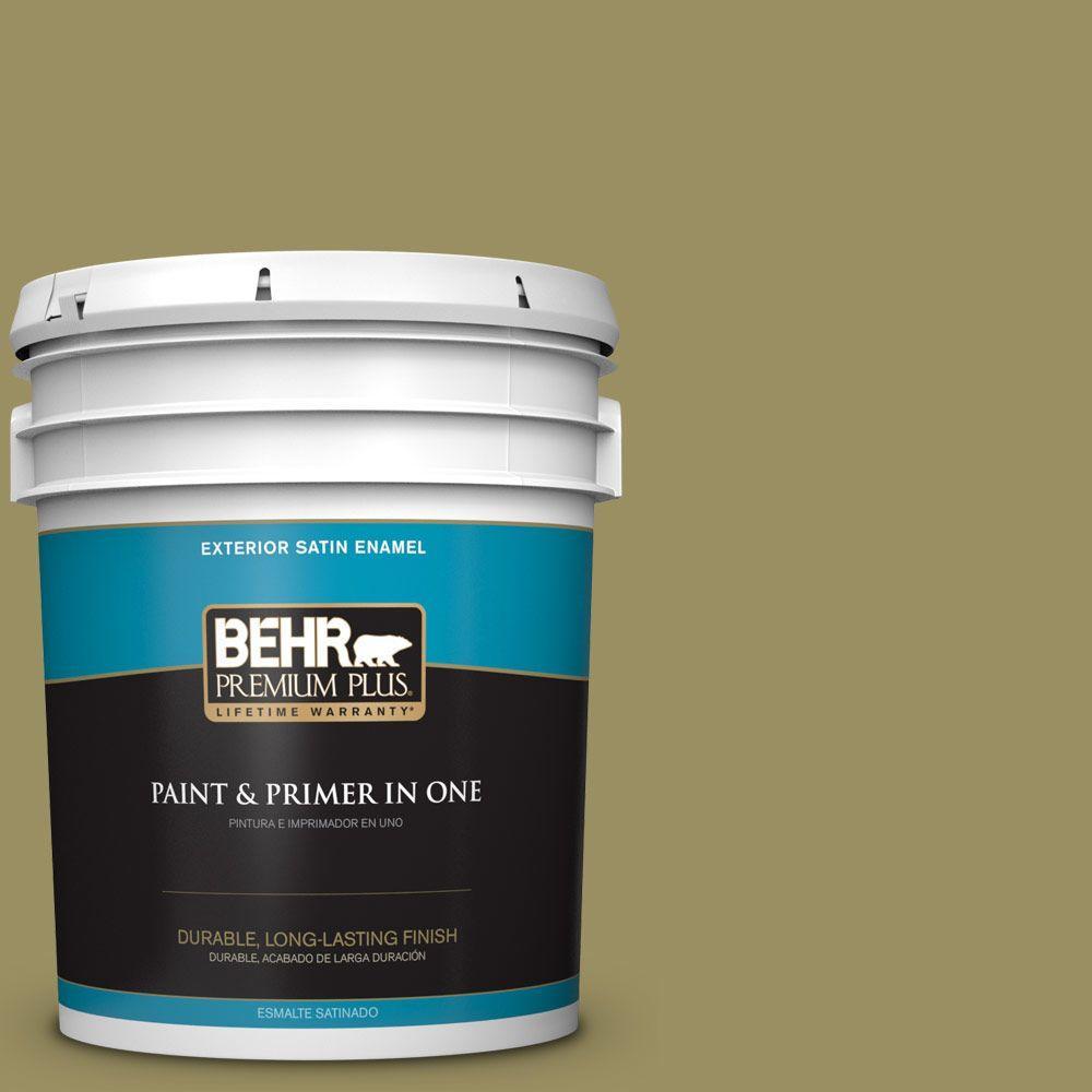 BEHR Premium Plus 5-gal. #390F-6 Tate Olive Satin Enamel Exterior Paint