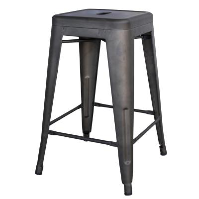 Loft Style 24 in. Rustic Gunmetal Metal Bar Stool