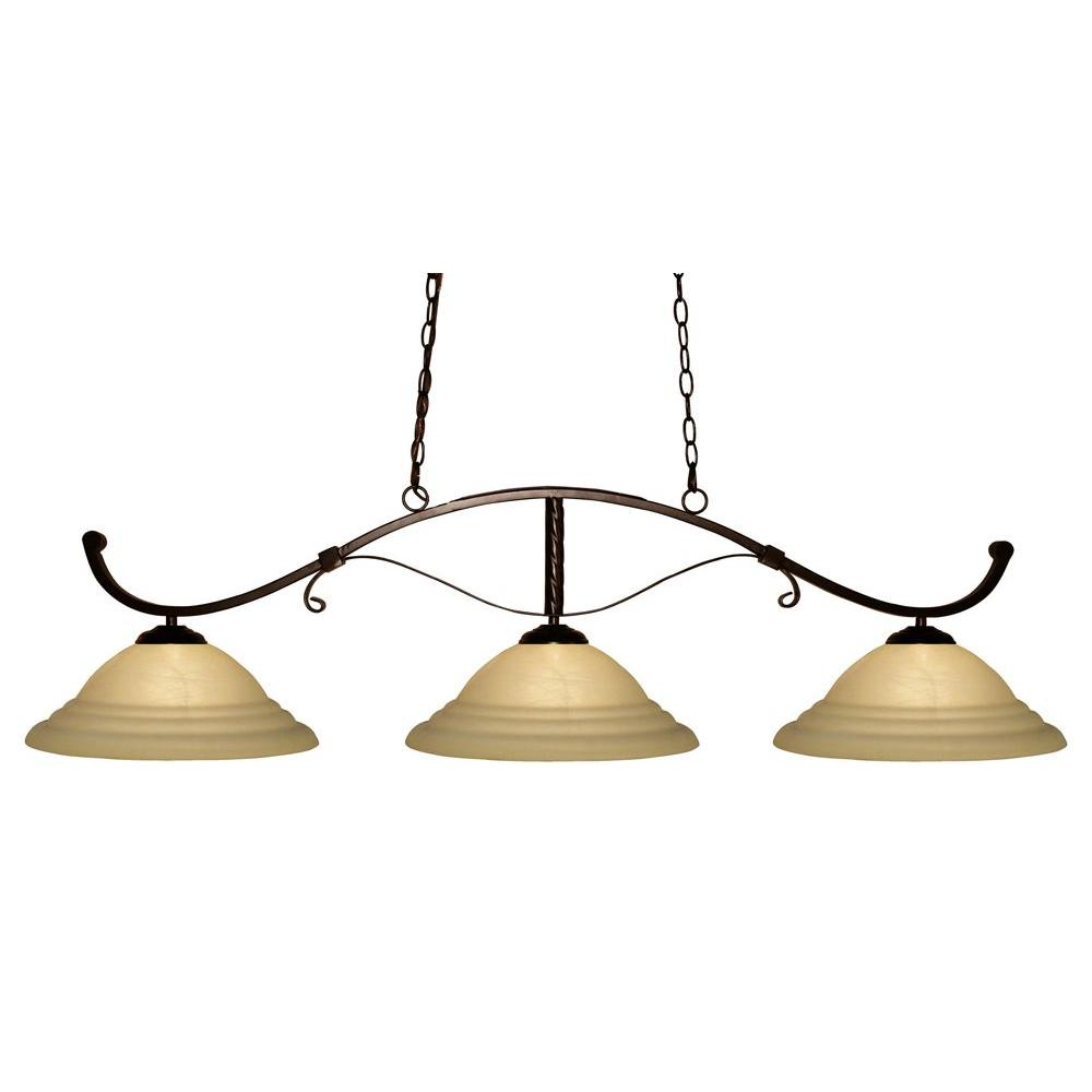 Tulen Lawrence 3-Light Bronze Incandescent Ceiling Island Light