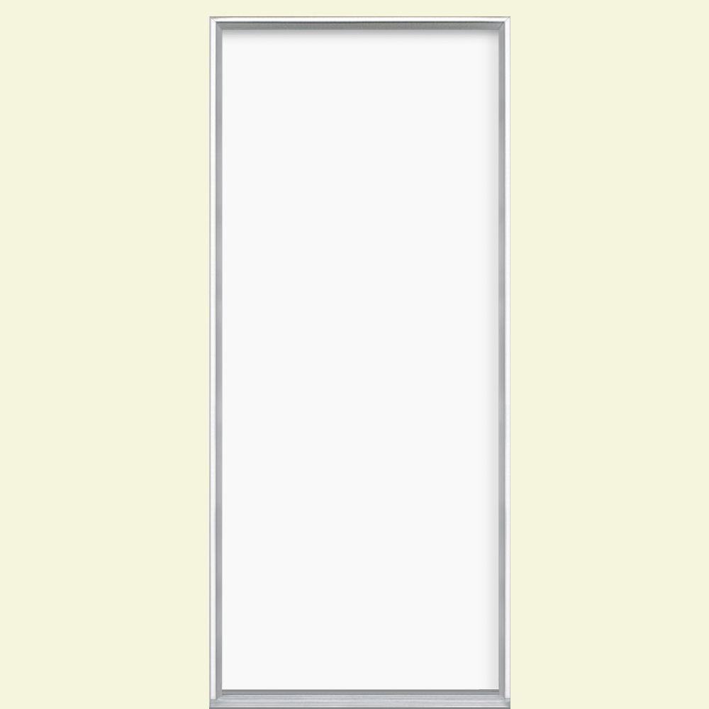 Masonite 32 in. x 80 in. Flush Left Hand Inswing Ultra White Painted Steel Prehung Front Door No Brickmold in Vinyl Frame