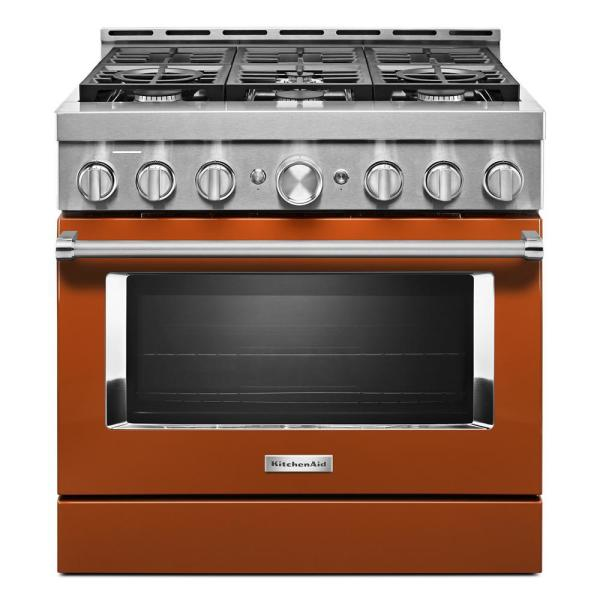 36 in. 5.1 cu. ft. Smart Commercial-Style Gas Range with Self-Cleaning and True Convection in Scorched Orange