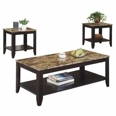 3-Piece Cappuccino Occasional Table Set with Shelf and Marble Look Top