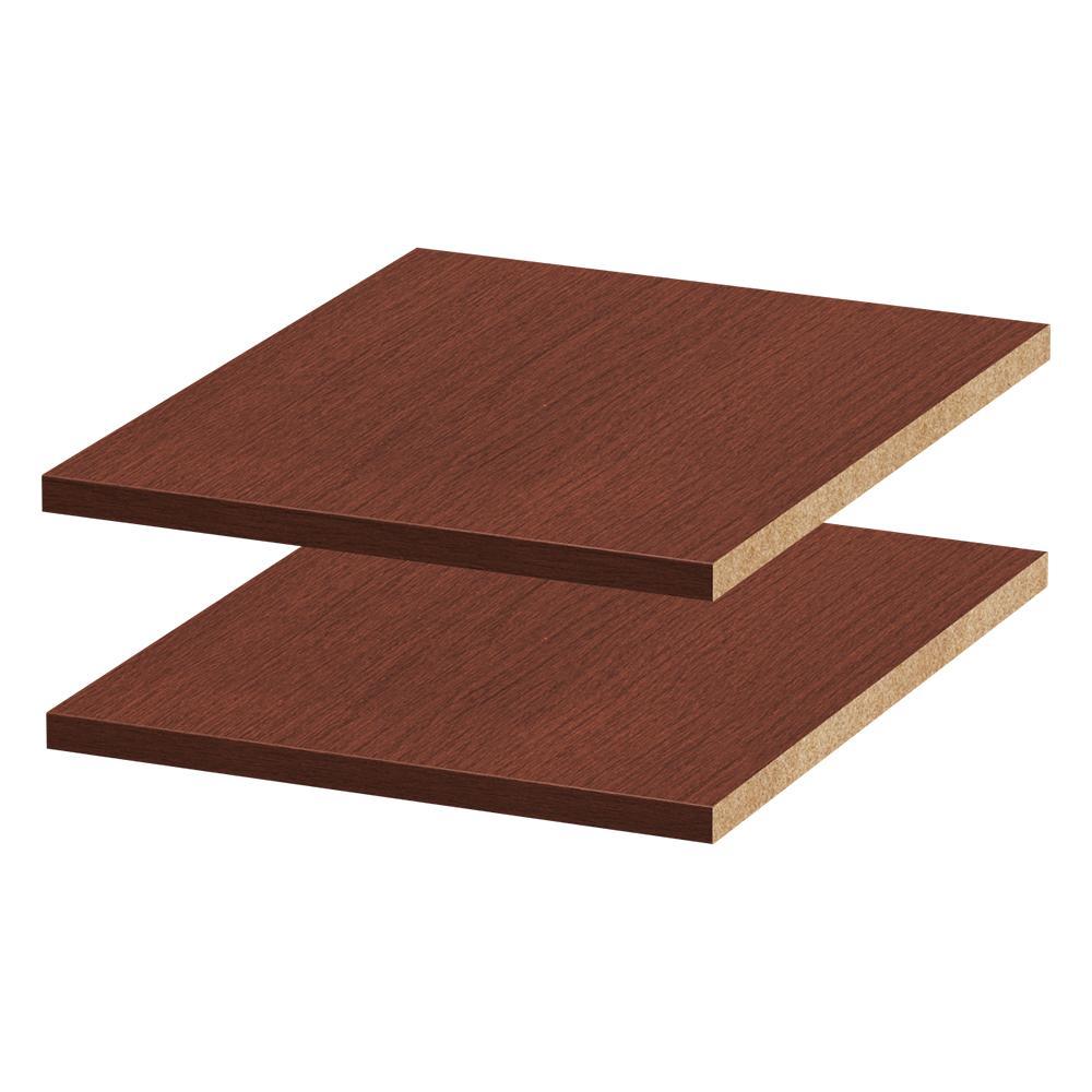 13-5/8 in. W x 0.75 in. H x 14-3/8 in. D Melamine Adjustable Shelf in Mocha (2-Pack)