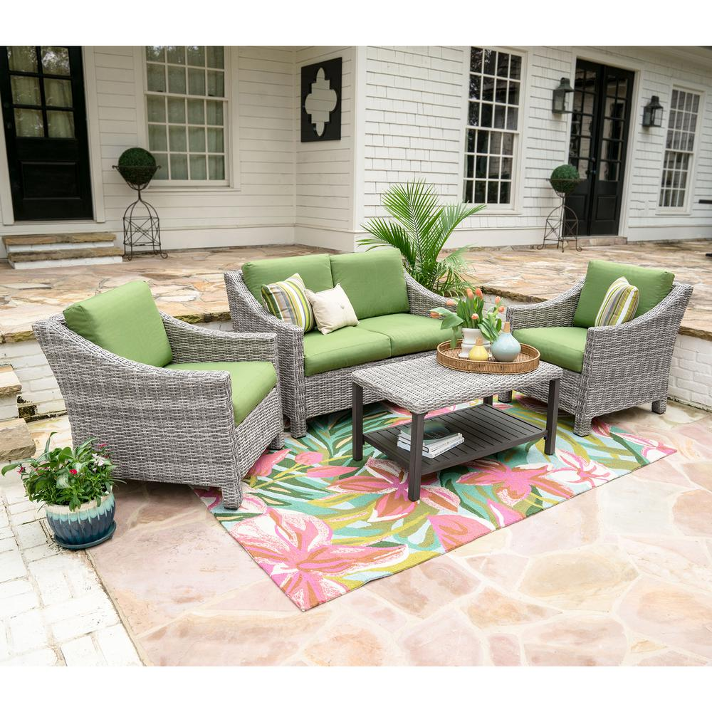 Leisure Made Marietta 4 Piece Wicker Patio Conversation Set With Green  Cushions