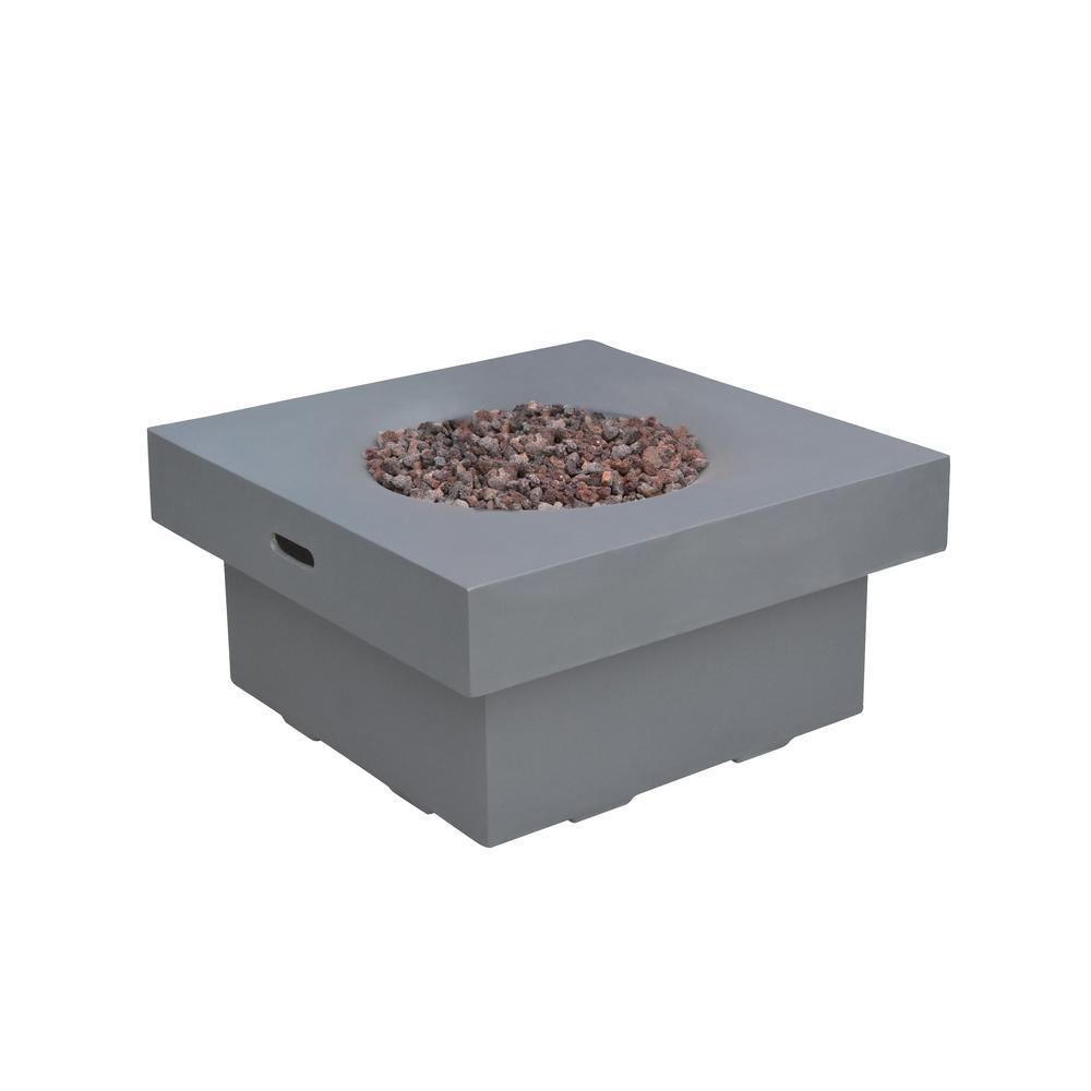 Branford 34 in. x 17 in. Square Concrete Propane Fire Pit Table in Light Gray