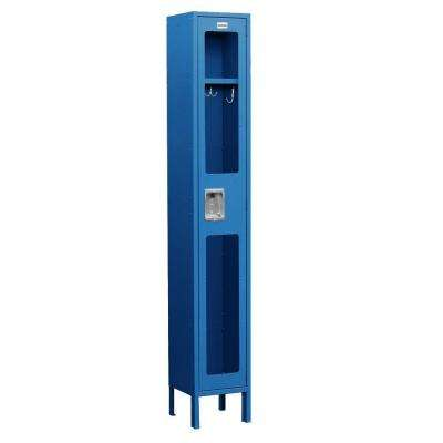 S-61000 Series 12 in. W x 78 in. H x 15 in. D Single Tier See-Through Metal Locker Assembled in Blue
