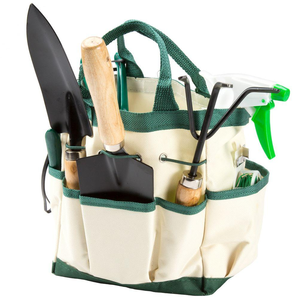 Pure Garden 8.25 In. Garden Tool And Tote Set (8 Piece)