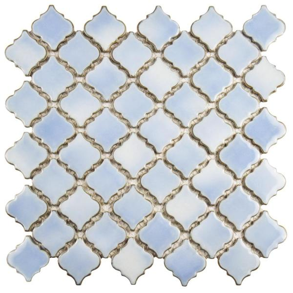Hudson Tangier Frost Blue 12 in. x 12 in. Porcelain Mosaic Tile (10.96 sq. ft. / Case)