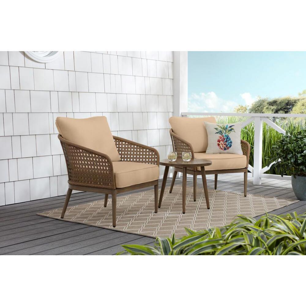 Coral Vista 3-Piece Brown Wicker Outdoor Patio Bistro Set with Sunbrella Beige Tan Cushions