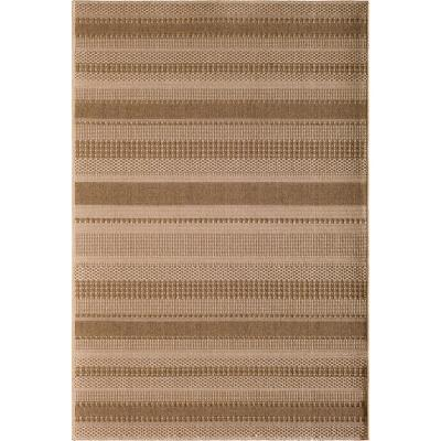 Santorini Large Stripe Earth 8 ft. x 10 ft. Indoor/Outdoor Area Rug
