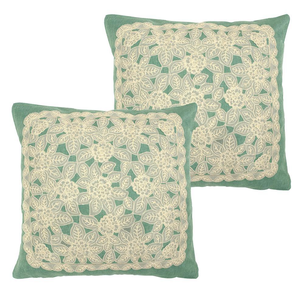 Gretta Teal Polyester Slip Covers (Set of 2)
