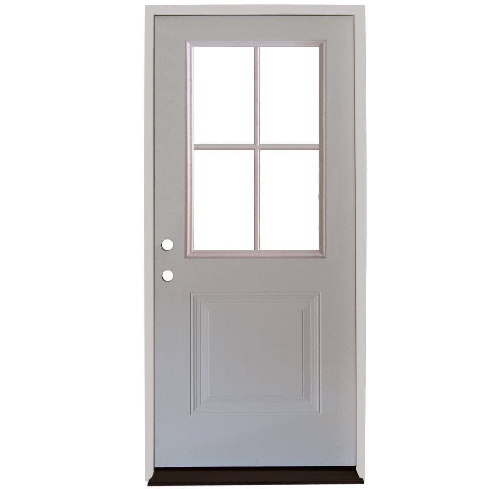 Premium 4 Lite 1-Panel Primed White Steel Prehung Front Door