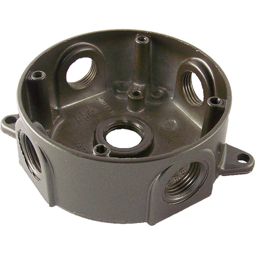 4 in. Round Weatherproof Electrical Outlet Box with Five 1/2 in.