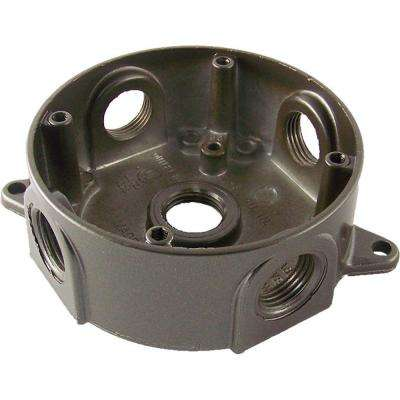 4 in. Round Weatherproof Electrical Outlet Box with Five 1/2 in. Holes - Bronze