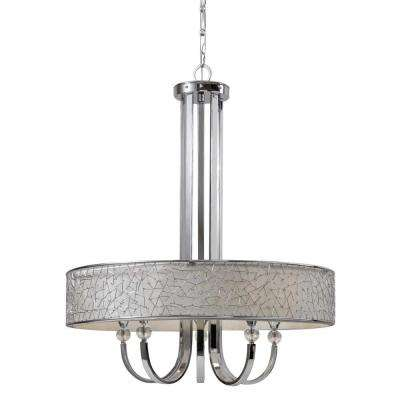 5-Light Nickel Drum Chandelier