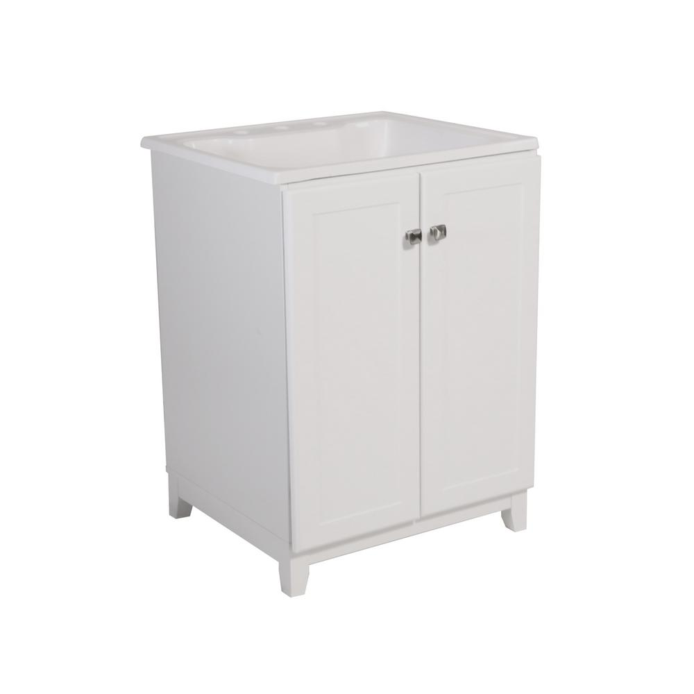 Design House Shorewood 24 in. W x 21 in. 2-Door Bath Vanity in White with Cultured Marble Vanity Top in Solid White with White Basin