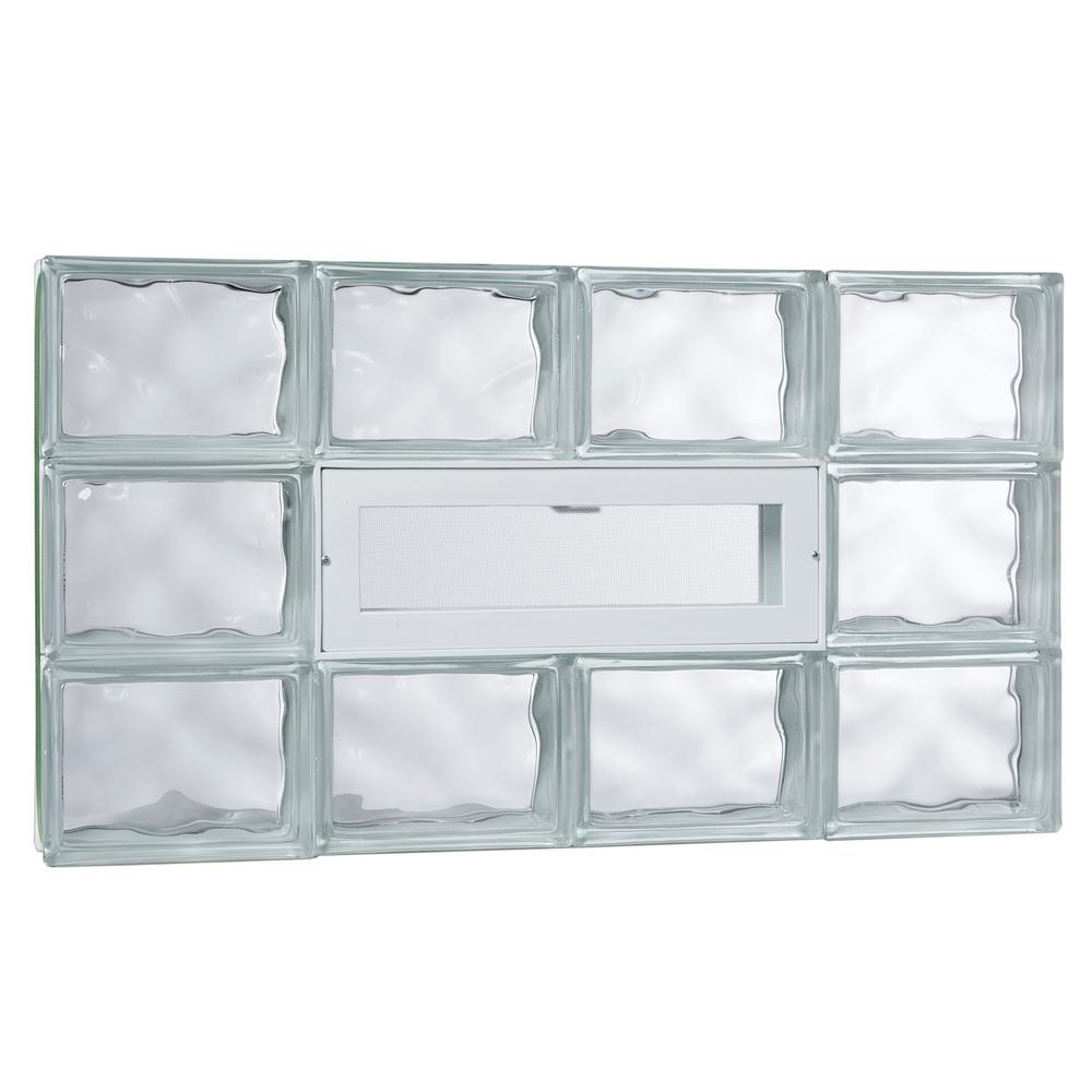 Tafco windows in x in nailup2 wave pattern for Pre assembled glass block windows